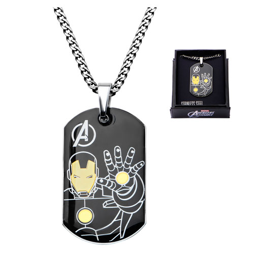 Avengers Iron Man Steel Dog Tag and Chain Necklace