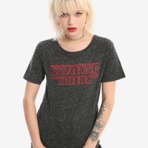 Stranger Things Logo Speckled Girls T-Shirt