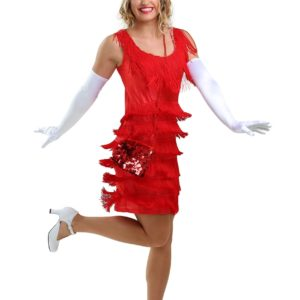 Red Flapper Fashion Dress Costume