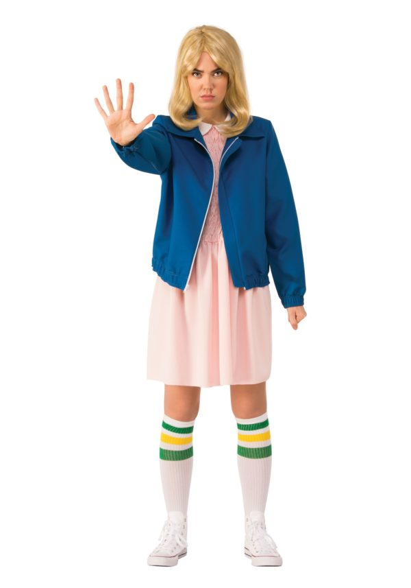 Stranger Things Eleven Blue Jacket Adult Fancy Dress Costume