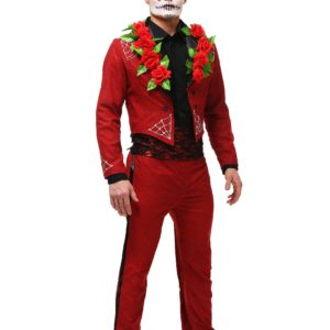Men's Plus Size Red Day of the Dead Costume
