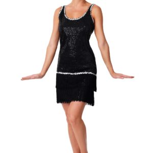 Sequin & Fringe Black Flapper Dress Costume